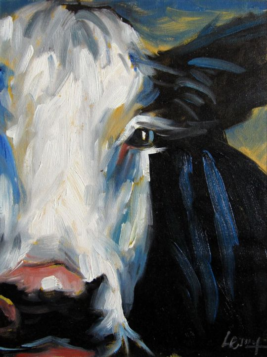 """Painting titled """"Cow #506"""" by James Shang, Original Art, Oil Mounted on Stretcher frame"""