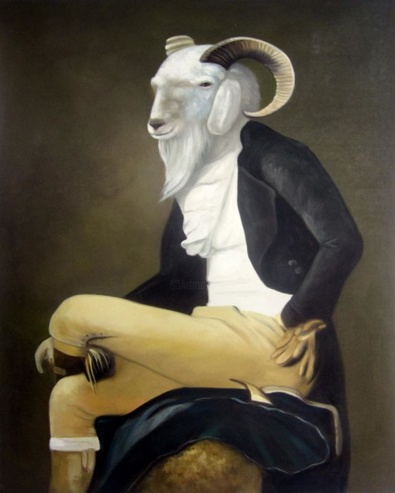 """Painting titled """"Pet dressed Goat Po…"""" by James Shang, Original Art, Oil Mounted on Stretcher frame"""