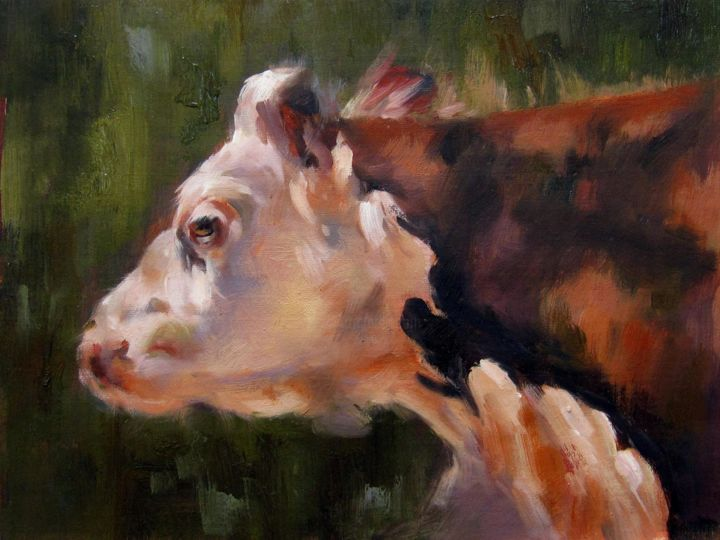 """Painting titled """"Cow #508"""" by James Shang, Original Art, Oil Mounted on Stretcher frame"""