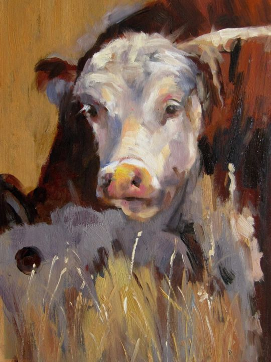 """Painting titled """"Cow #509"""" by James Shang, Original Art, Oil Mounted on Stretcher frame"""
