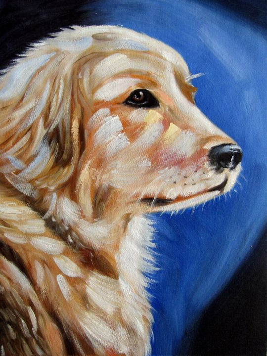 """Painting titled """"Dog #002"""" by James Shang, Original Art, Oil Mounted on Stretcher frame"""