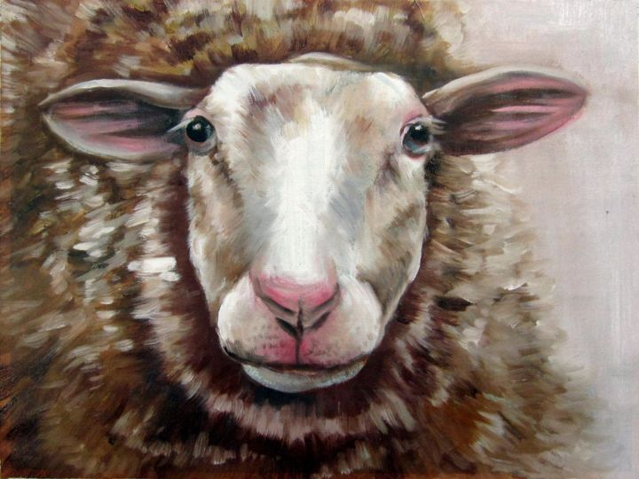 """Painting titled """"Sheep #104"""" by James Shang, Original Art, Oil"""