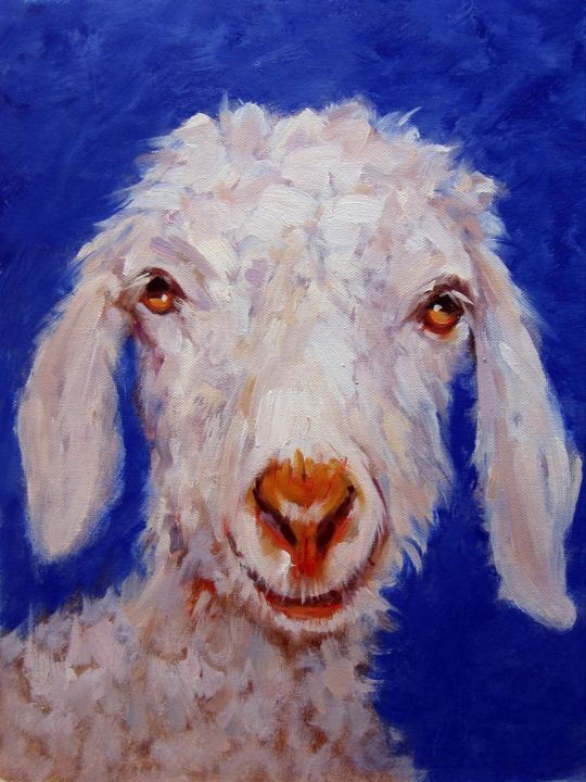 """Painting titled """"Sheep #103D"""" by James Shang, Original Art, Oil Mounted on Stretcher frame"""