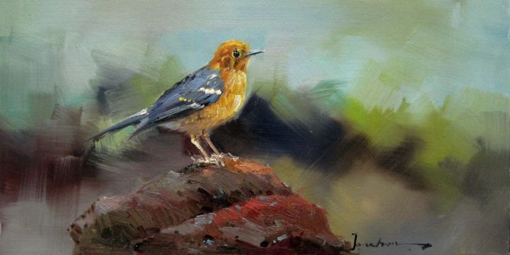 """Painting titled """"Sparrow #205"""" by James Shang, Original Art, Oil Mounted on Stretcher frame"""
