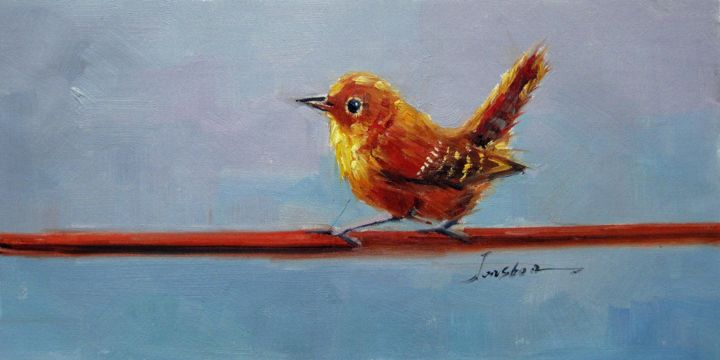 """Painting titled """"Sparrow #206"""" by James Shang, Original Art, Oil Mounted on Stretcher frame"""