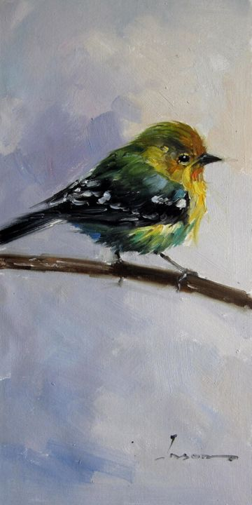 """Painting titled """"Sparrow #208"""" by James Shang, Original Art, Oil Mounted on Stretcher frame"""