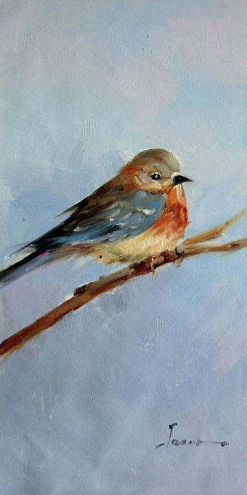 """Painting titled """"Sparrow #209"""" by James Shang, Original Art, Oil Mounted on Stretcher frame"""