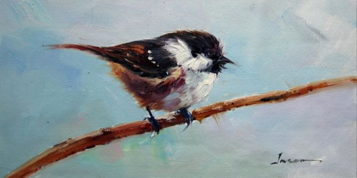 """Painting titled """"Sparrow #210"""" by James Shang, Original Art, Oil Mounted on Stretcher frame"""