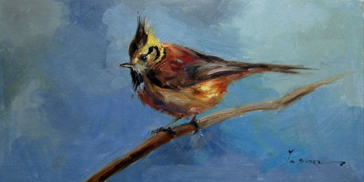 """Painting titled """"Sparrow #211"""" by James Shang, Original Art, Oil Mounted on Stretcher frame"""