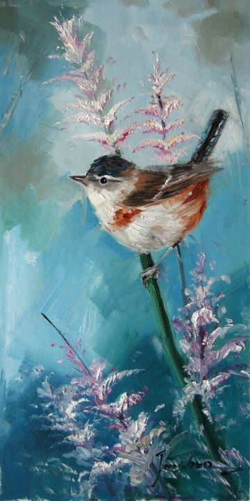 """Painting titled """"Sparrow #214D"""" by James Shang, Original Art, Oil Mounted on Stretcher frame"""