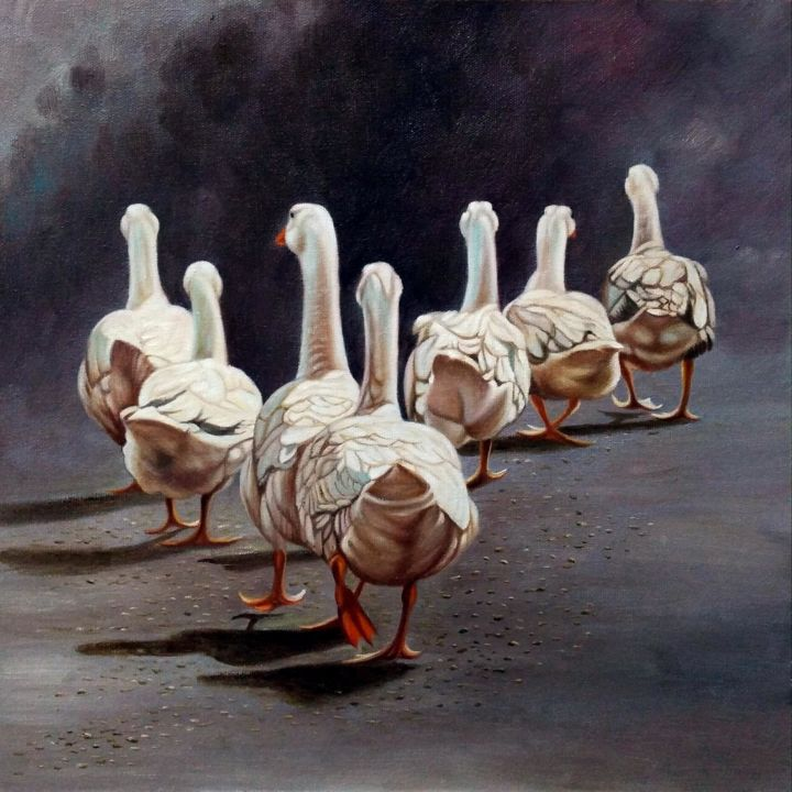 """Painting titled """"Goose 002D"""" by James Shang, Original Art, Oil Mounted on Stretcher frame"""