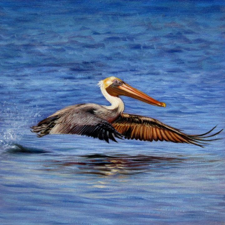 """Painting titled """"Pelican 002D"""" by James Shang, Original Art, Oil Mounted on Stretcher frame"""