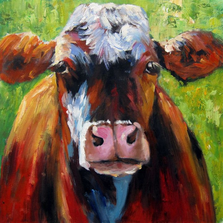 """Painting titled """"Cow #002D"""" by James Shang, Original Art, Oil Mounted on Stretcher frame"""