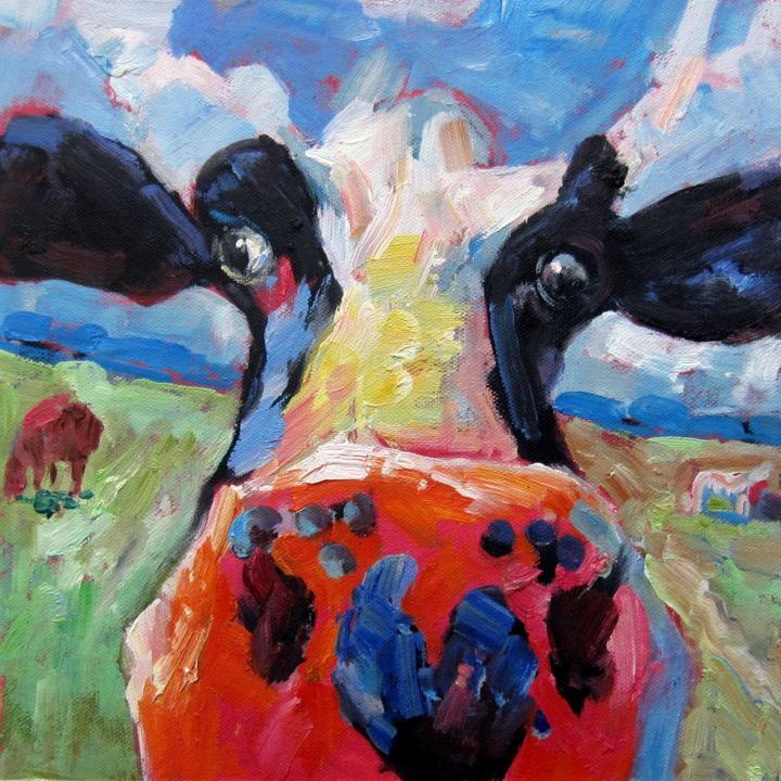 """Painting titled """"Cow #006D"""" by James Shang, Original Art, Oil Mounted on Stretcher frame"""