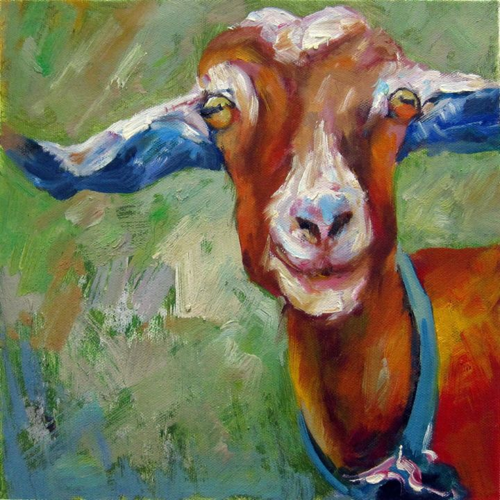 """Painting titled """"Goat 002"""" by James Shang, Original Art, Oil Mounted on Stretcher frame"""