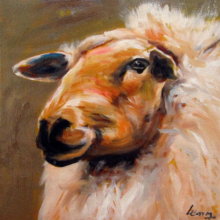 """Painting titled """"Sheep 304"""" by James Shang, Original Art, Oil Mounted on Stretcher frame"""