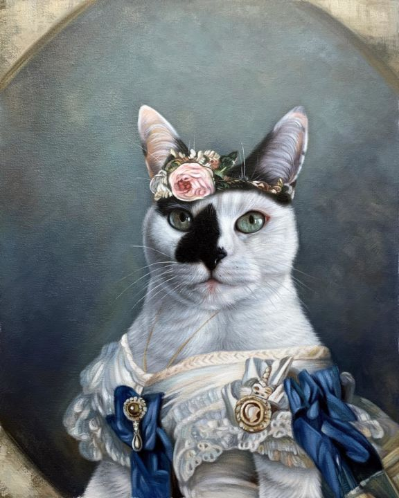 """Painting titled """"Portrait pet cat 017"""" by James Shang, Original Art, Oil Mounted on Stretcher frame"""