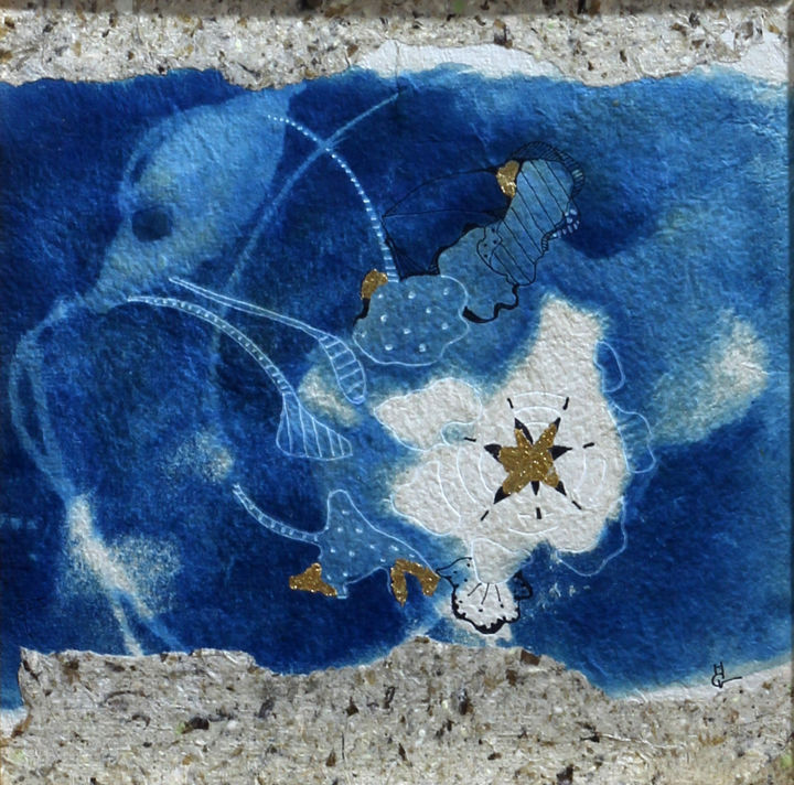 Triptyque Volutes 1 - Mixed Media,  30x30 cm ©2018 by M. C. Valentine -                                                            Symbolism, Paper, Spirituality, cyanographie, cyanotype, papier artisanal, dessin, feuille d'or