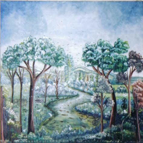 Pathway - Painting,  36x36 in ©2004 by muller jean francois -