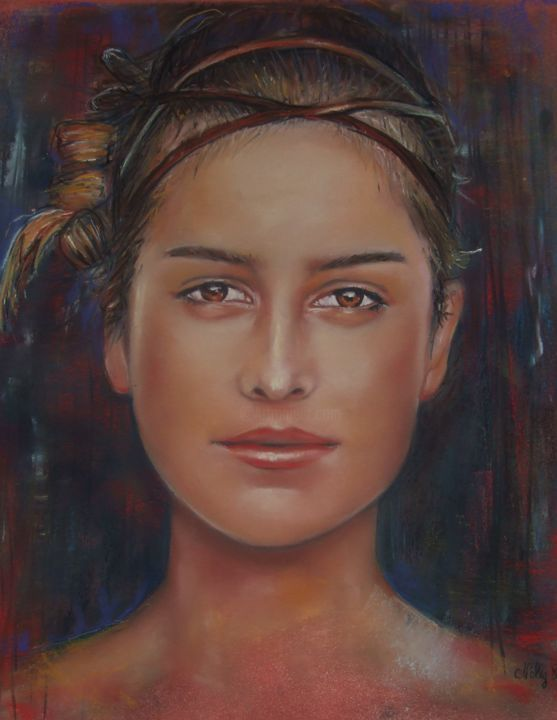 Portrait - Painting,  50x40 cm ©2013 by Nelly Bernet -                                        Figurative Art, Portraits