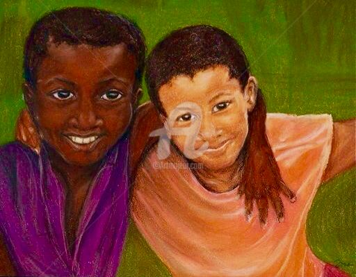 """Painting titled """"Best Friends"""" by Donna W. Radcliffe, Original Art, Pastel"""