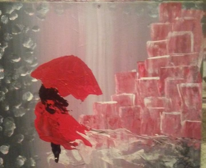 """Painting titled """"Lady in red"""" by Rachel Daga, Original Art,"""