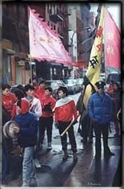 Painting ©2001 by Anthony Amabile -  Painting, Realism, china town street scene, chinese new year