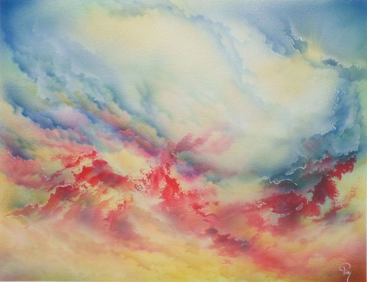 Magma de nuages - Painting,  15.8x19.7 in, ©2012 by Pim -