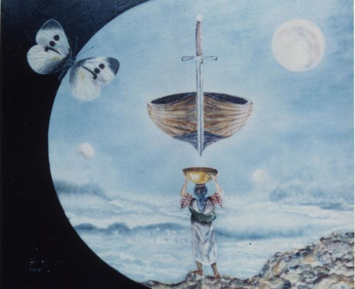Excalibur - Painting,  18.1x21.7 in, ©1991 by Pim -