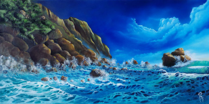 le-chant-de-poseidon.jpg - Painting,  50x100x4 cm ©2016 by Pim -                                        Figurative Art, Seascape