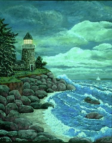 """Painting titled """"Jerry's Lighthouse"""" by Ave Cosgriff Hurley, Original Art, Other"""