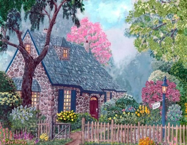 """Painting titled """"Essex House Cottage"""" by Ave Cosgriff Hurley, Original Art, Oil"""
