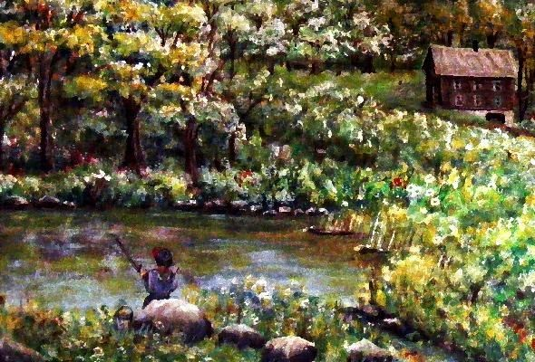 """Painting titled """"Fishing by the Tena…"""" by Ave Cosgriff Hurley, Original Art, Oil"""