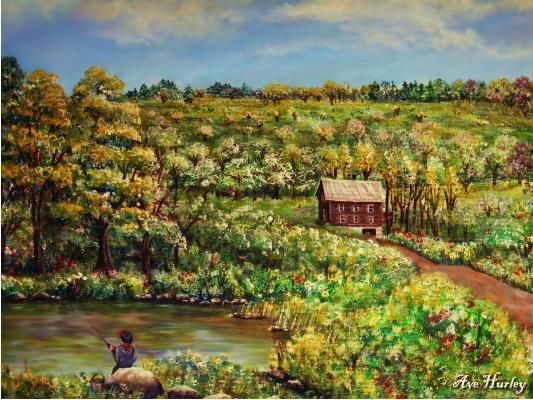 """Painting titled """"Tenant House in Aug…"""" by Ave Cosgriff Hurley, Original Art, Oil"""