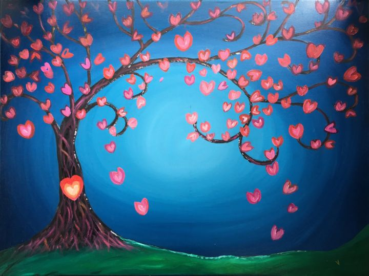 """Painting titled """"FANTASY TREE WITH H…"""" by Artrayal, Original Art, Oil"""