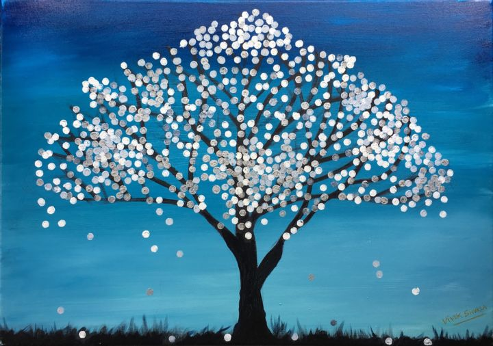 """Painting titled """"SILVER FANTASY TREE…"""" by Artrayal, Original Art, Oil"""