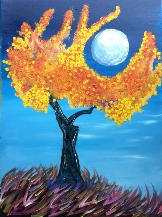 """Painting titled """"BRIGHT YELLOW TREE…"""" by Artrayal, Original Art, Oil"""