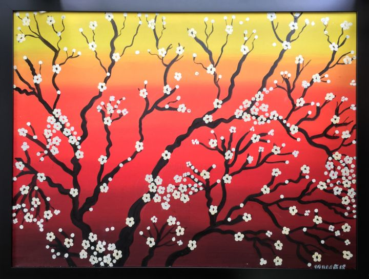 """Painting titled """"CHERRY BLOSSOMS IN…"""" by Artrayal, Original Art, Oil"""