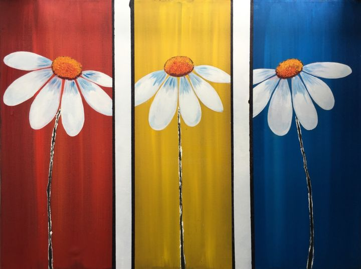 """Painting titled """"BRIGHT SUNFLOWERS O…"""" by Artrayal, Original Art,"""