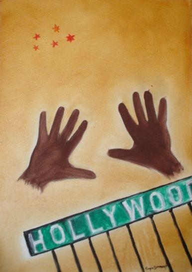 Hollywood - Painting,  27.6x19.7 in, ©2007 by Artroger -                                                              cinema film cine