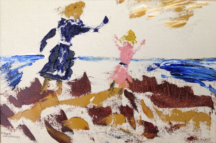 sisters-playing-in-the-sand-dunes.jpg - Painting, ©2014 by Artroger -