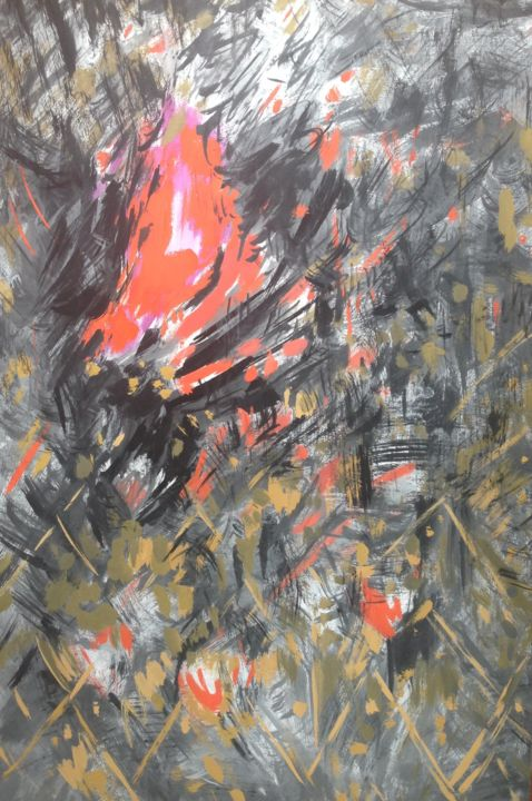 Lady in Red - Painting,  60x40x0.1 cm ©2019 by Roman Sergienko -                                                                                Abstract Art, Abstract Expressionism, Conceptual Art, Contemporary painting, Erotic, nude, erotic, lady, red, girl, abstract, dance, graphics, painting, modern, contemporary, conceptual