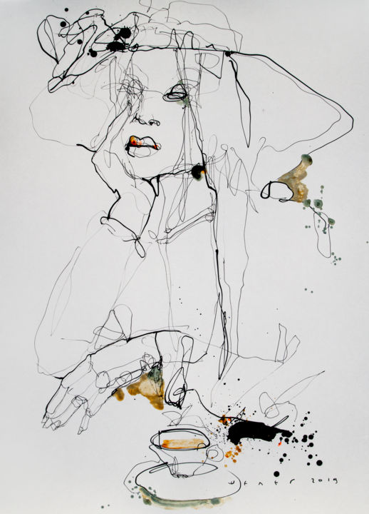 Lady19 - Drawing,  25.2x18.1 in, ©2019 by Viktor Sheleg -                                                                                                                                                                                                                                                                                                                                                                                                                                                                                                                                              Figurative, figurative-594, Women, fineart, black and white, interiorpaintings, drowing, style, artwork, art, artist