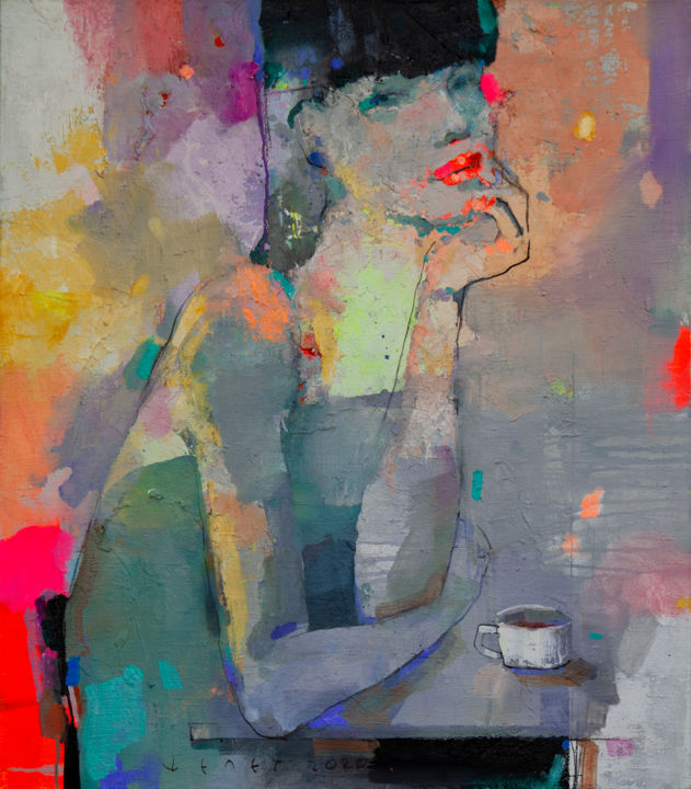 She just loves coffee - Painting,  31.5x27.6x0.4 in, ©2020 by Viktor Sheleg -                                                                                                                                                                                                                                                                                                                                                                                                                                                      Impressionism, impressionism-603, Women, Love / Romance, color, romance, emotion, interior, style