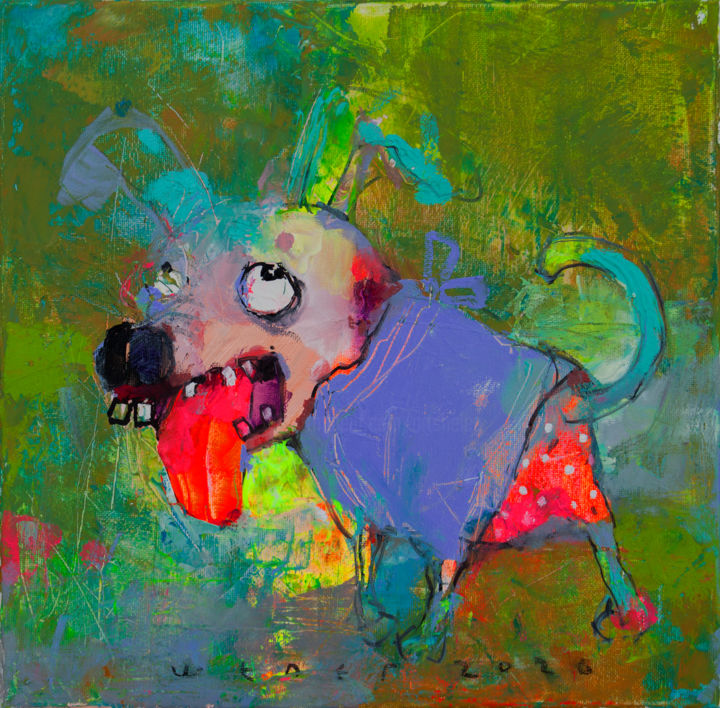 ARTdoggy - Painting,  11.8x11.8x0.6 in, ©2020 by Viktor Sheleg -                                                                                                                                                                                                                                                                                              Dogs, dog, style, color, art, emotion