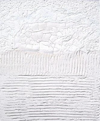 Matière blanche - Painting,  55x46 cm ©2010 by Catherine Barbet -                            Contemporary painting, Matières blanches avec reliefs
