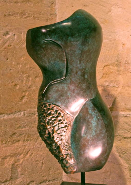 BUSTE FEMME  Bronze 1/8 - Sculpture,  61x24x20 cm ©2010 by Mandel Sonia -                                                            Expressionism, Bronze, Love / Romance, Buste femme Bronze, stylise, style MANDEĹART, sculpture bronze, bronze vert, bronze contemporain, femme, harmonie, french touch