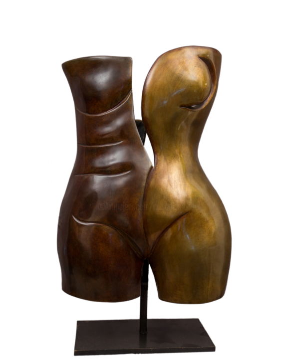 OSMOSE  Bronze 1/8 - Sculpture,  24.8x12.6x10.2 in, ©2012 by Mandel Sonia -                                                                                                                                                                                                                                                                                                                                                                                                                                                                                                                                                                                                                                          Abstract, abstract-570, Bronze, Body, bronze, corps, osmose, expressioniste, duo, homme-femme, mandel'art, la french touch, contemporain