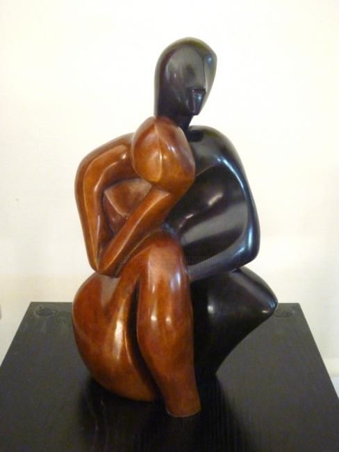 FUSION-DUO Bronze Bicolore face 1/8 - Sculpture,  11.8x6.7x6.7 in, ©2013 by Mandel Sonia -                                                                                                                                                                                                                                                                                                                                                                                  Duo homme-femme, fusion, sculpture bronze, couple contemporain, moderne, amour, style MANDEĹART, French touch