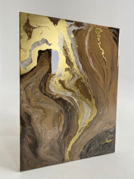 """Painting titled """"Land of Gold"""" by Yulia Palij, Original Art, Resin"""